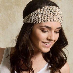 Crochet Wooded Beaded Headband in Ivory